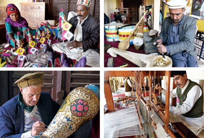 Artisans show their skills in various crafts during the exhibition at Lok Virsa on Tuesday. — Photos by Tanveer Shahzad