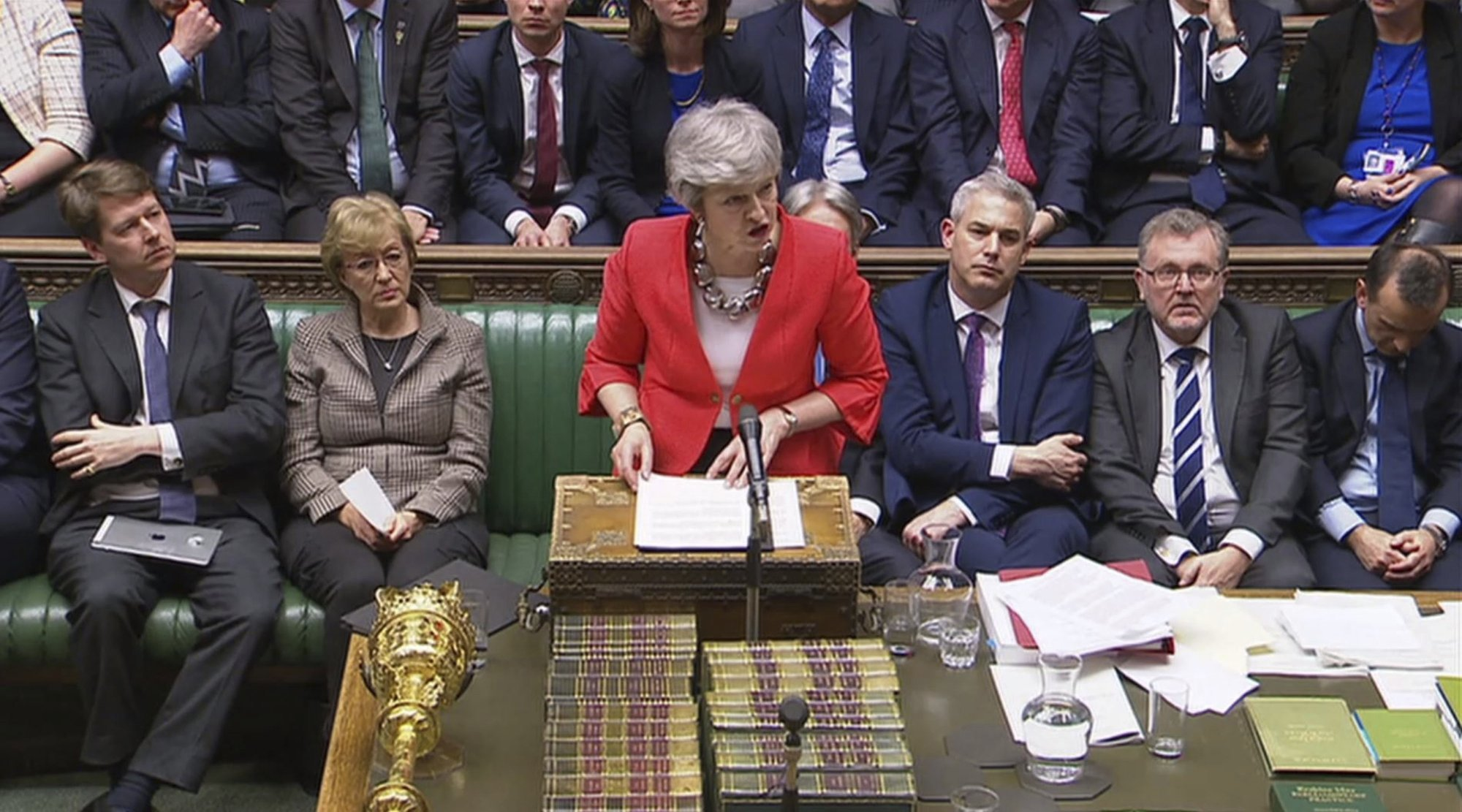 In this image taken from video, Britain's Prime Minister Theresa May speaks to lawmakers in parliament, London, on Tuesday, March 12. — AP