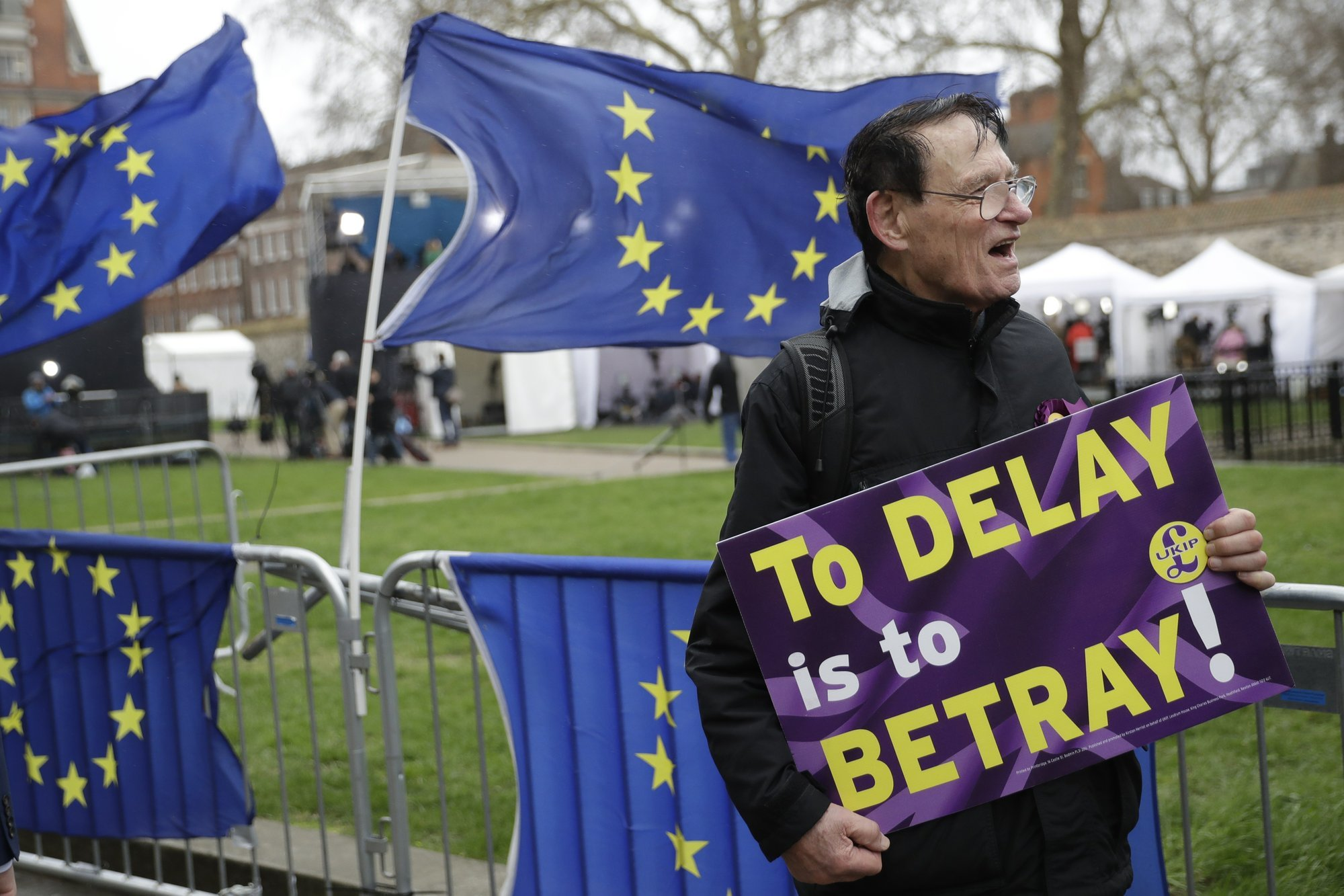 Pro-Brexit leave the European Union supporters take part in a protest outside the Houses of Parliament in London on Tuesday, March 12. — AP