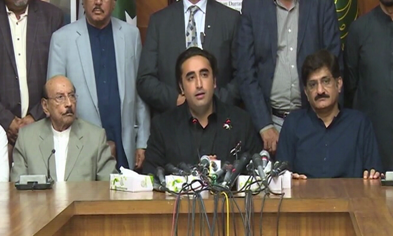 PPP Chairman Bilawal Bhutto-Zardari  addressing a press conference in Karachi. — DawnNewsTV