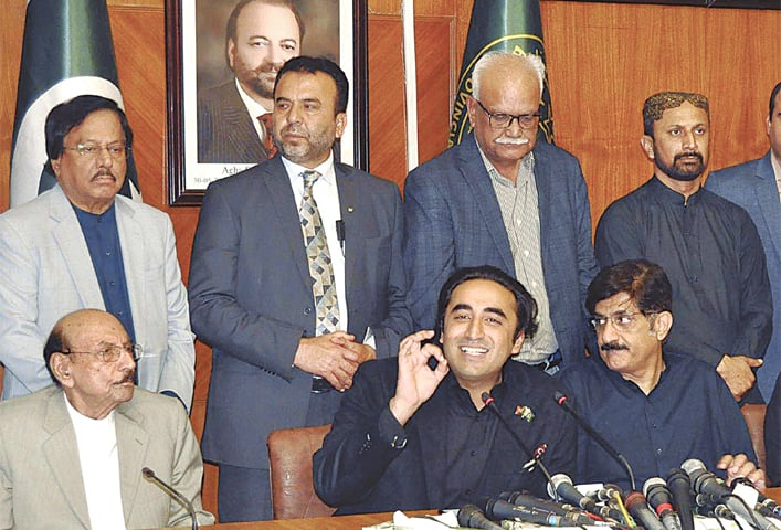 KARACHI: Peoples Party chairman Bilawal Bhutto-Zardari speaks at a press conference in the Sindh Assembly building here on Wednesday.—PPI