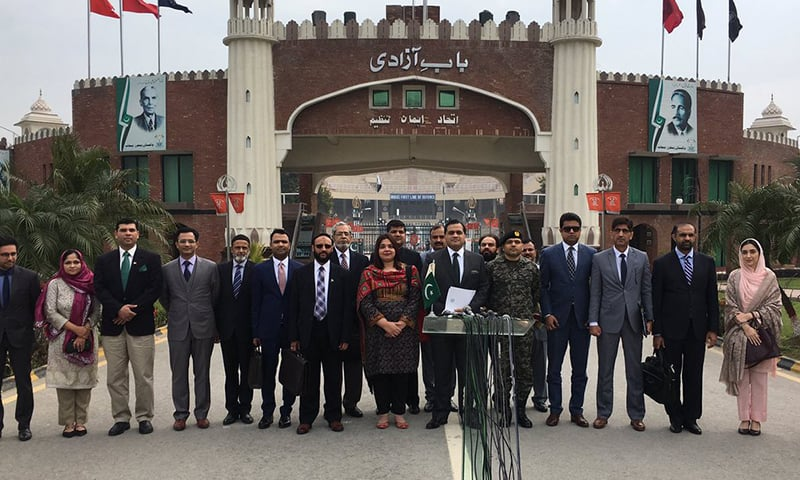 The Pakistani delegation at Wagah border crossing before leaving for India.— FO's Twitter