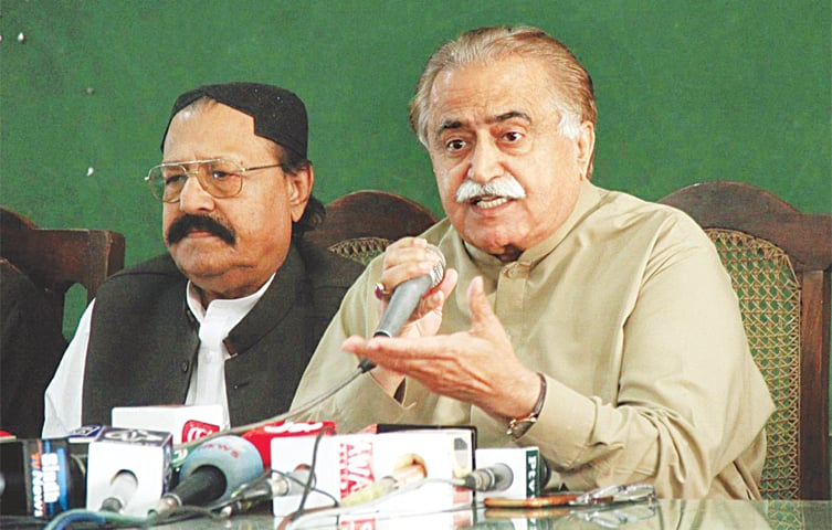 PPP information secretary Maula Bux Chandio speaks at the press conference on Thursday.—Dawn