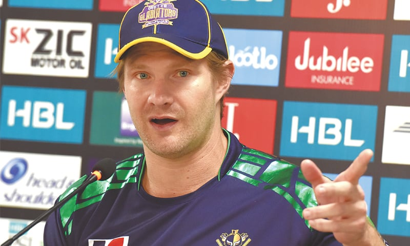 QUETTA Gladiators' Shane Watson gestures during a news conference.—White Star