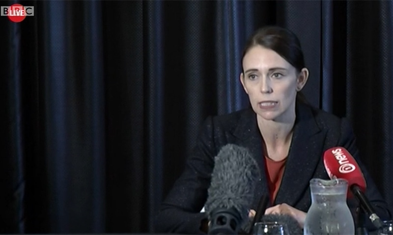 New Zealand Prime Minister Jacinda Ardern addresses a press conference after the shooting. — Photo courtesy: BBC screengrab