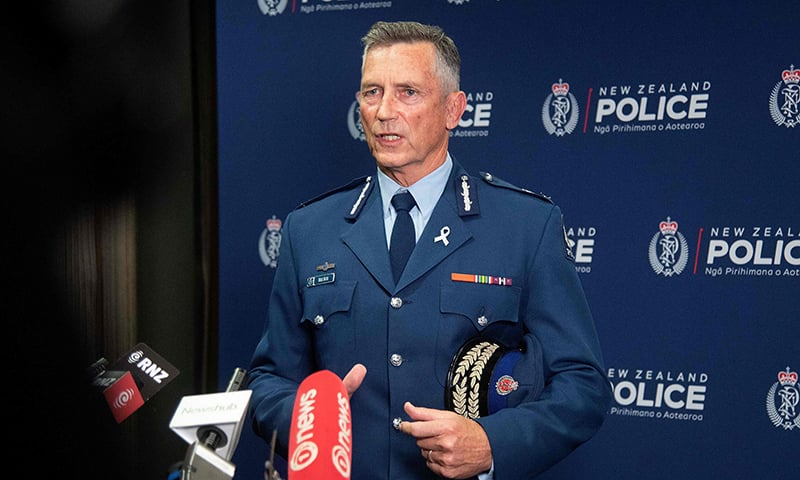 New Zealand police Commissioner Mike Bush speak to the media after the shootings. — AFP