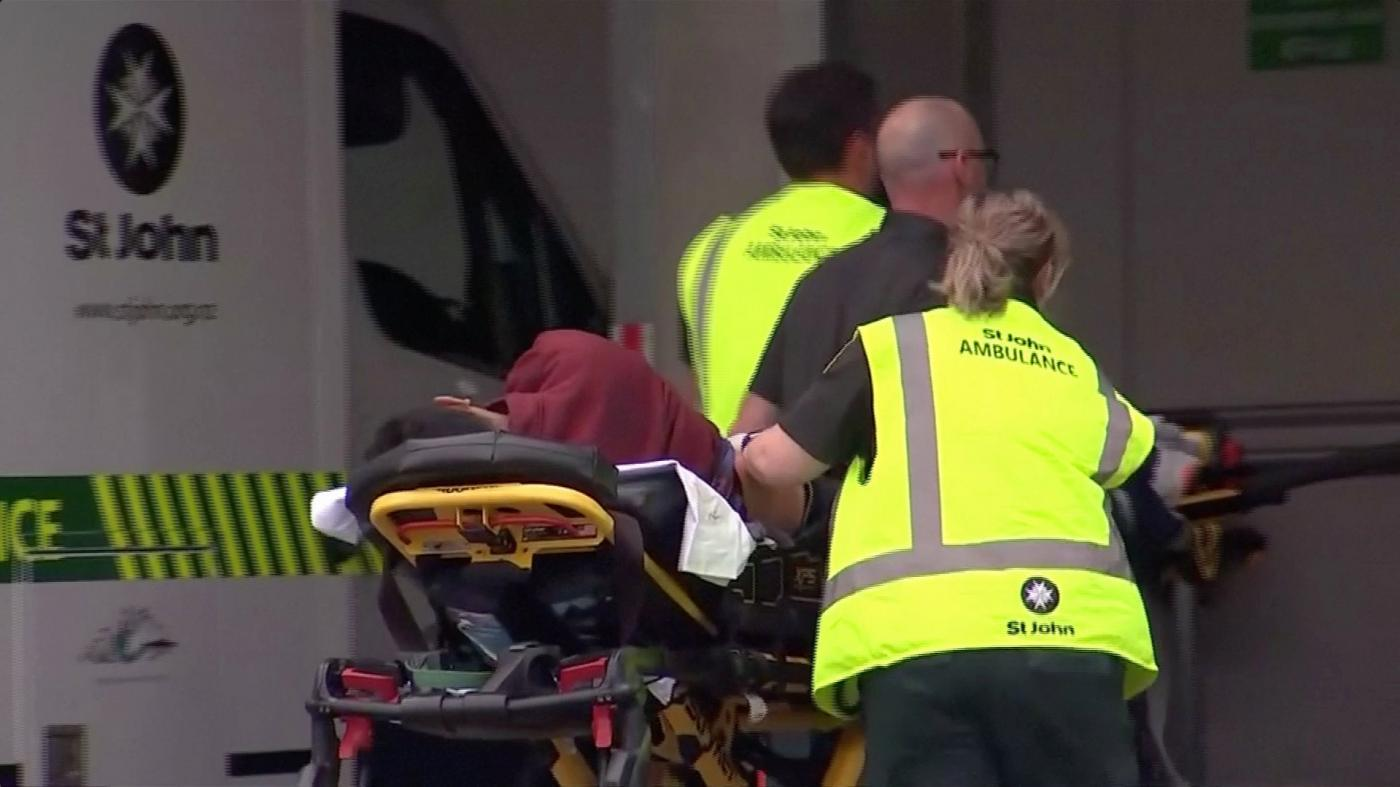 Wounded person wheeled into a hospital in Christchurch, New Zealand, on Friday. — AFP