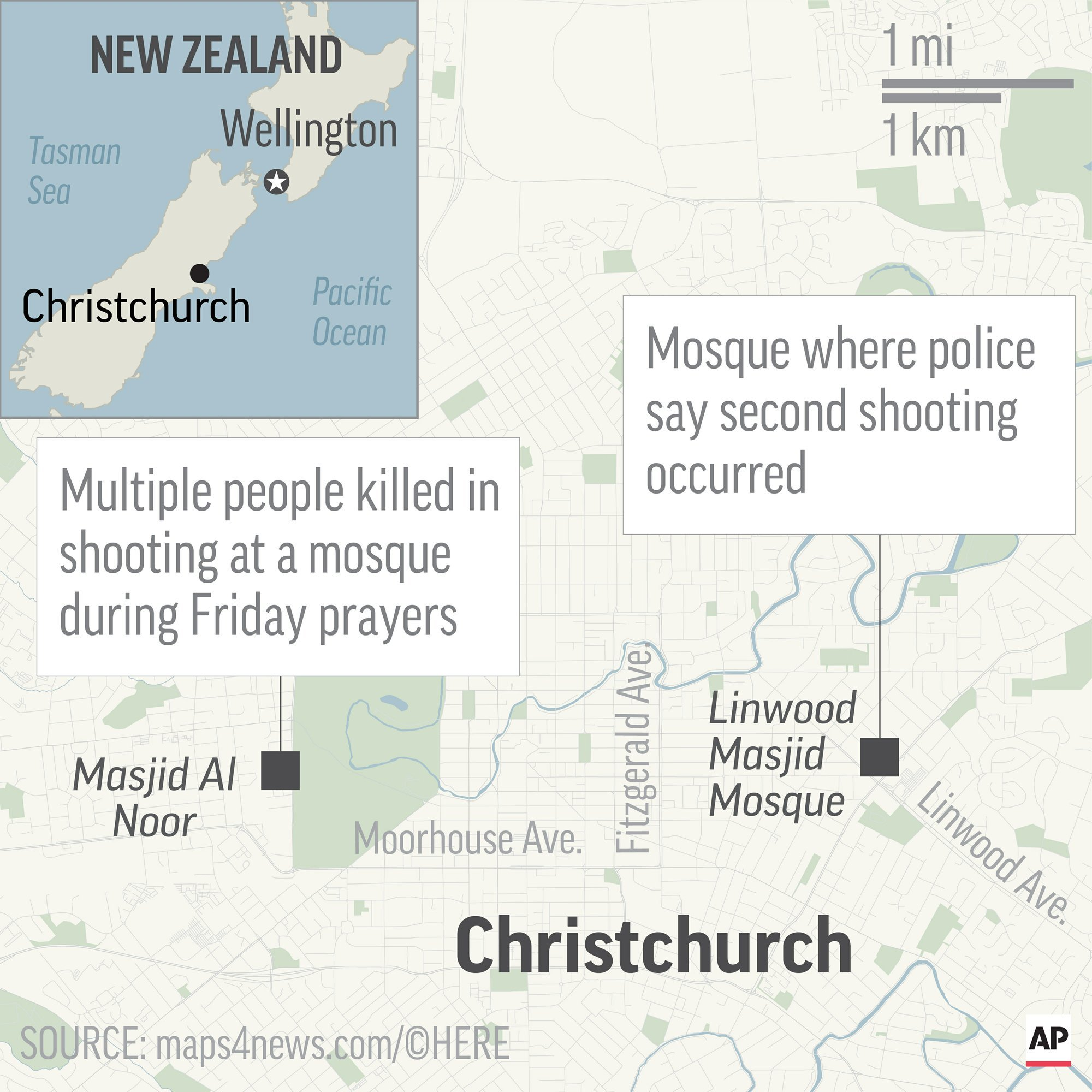 Map locates two mosques in Christchurch and Linwood, New Zealand, where mass shootings occurred. ─ AP