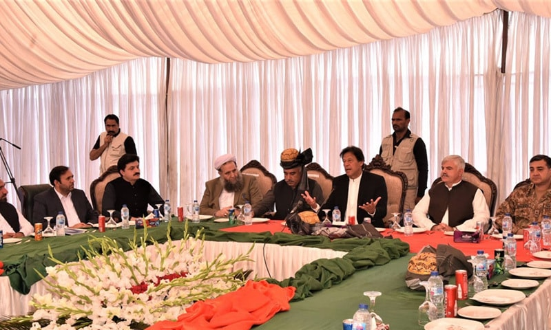Prime Minister Imran Khan talks to tribal leaders in Mohmand district. — RadioPakistan