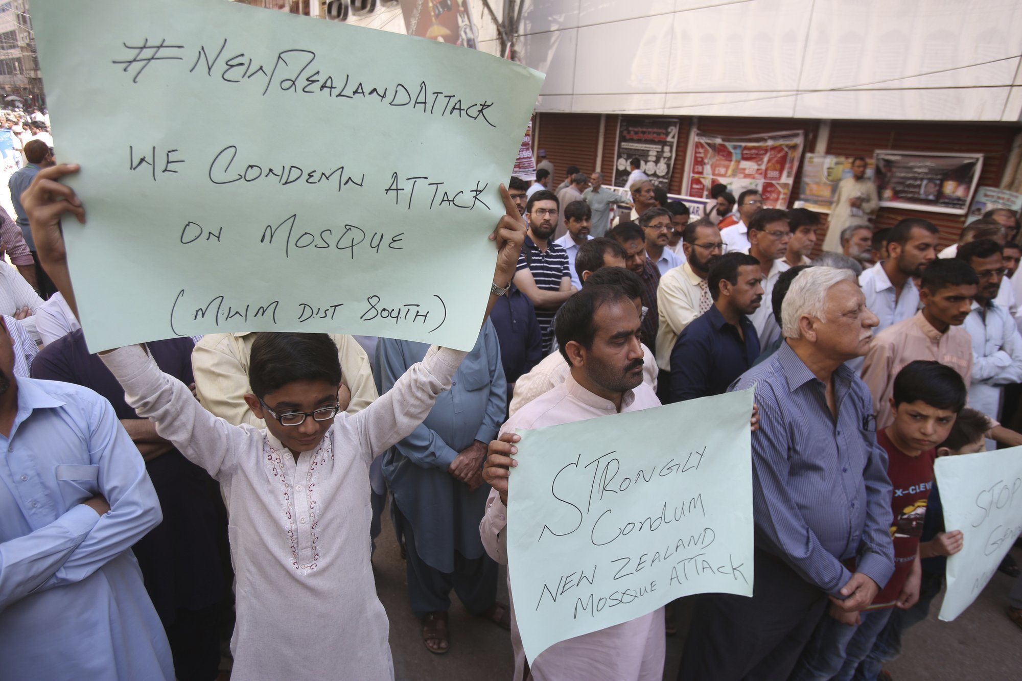 Karachi residents protest to condemn the New Zealand terrorist attack on Friday, March 15. — AP