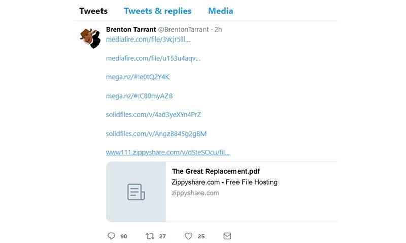 حملہ آور نے ٹوئٹر پر ایک لنک میں یہ منشور کا لنک پوسٹ کیا — اسکرین شاٹ