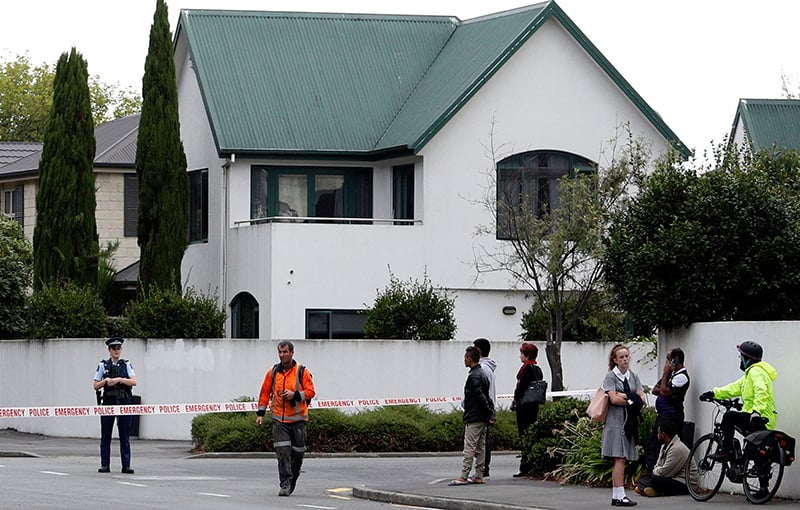 Police cordon off the area in front of the Masjid al Noor after a shooting incident in Christchurch. — AFP