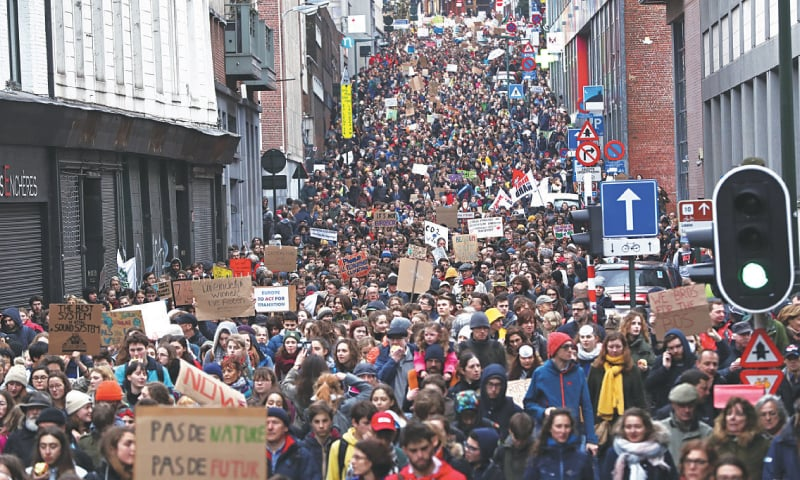 THOUSANDS of protesters take part in a rally in central Brussels.—Reuters