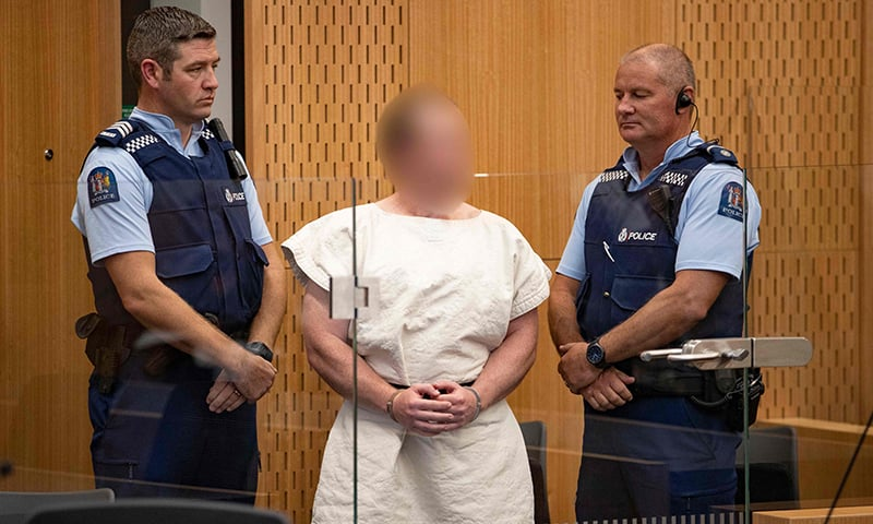 Brenton Tarrant, the man charged in relation to the Christchurch massacre appear in the dock charged with murder in the Christchurch District Court on March 16, 2019. — AFP