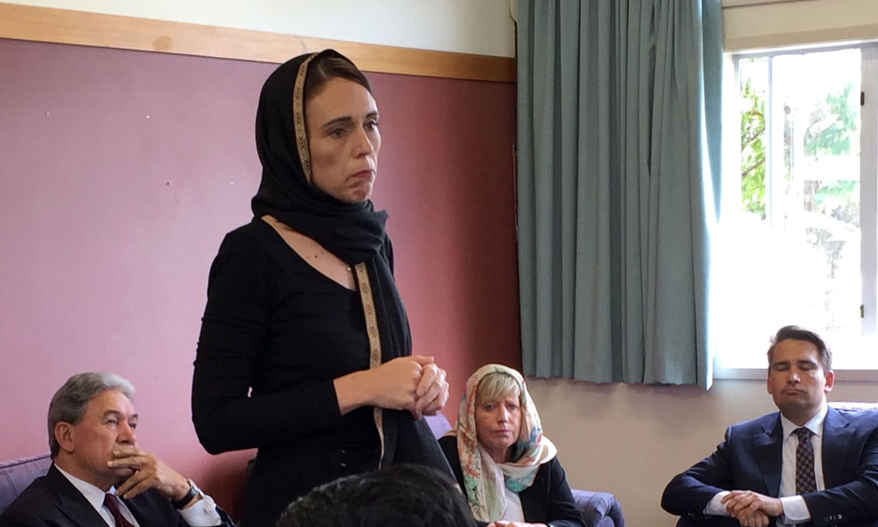 New Zealand Prime Minister Jacinda Ardern, left, speaks to representatives of the Muslim community, Saturday, March 16, 2019  at the Canterbury Refugee Centre in Christchurch, New Zealand. — AP