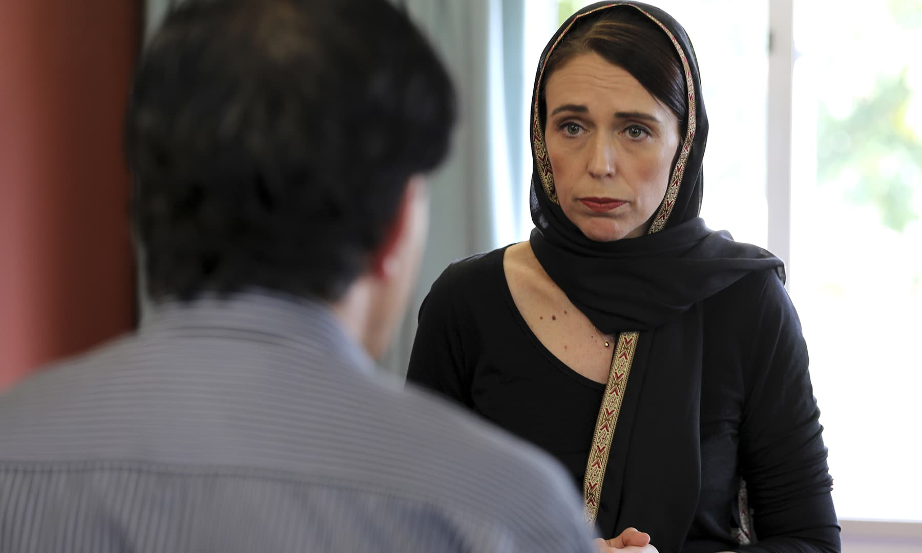 In this photo released by New Zealand Prime Minister's Office, Prime Minister Jacinda Ardern speaks to representatives of the Muslim community, Saturday, March 16, 2019 at the Canterbury Refugee Centre in Christchurch, New Zealand. — AP