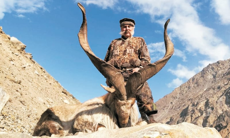 James Hascup with his hunted markhor in Gilgit-Baltistan. — Dawn