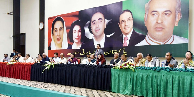 KARACHI: Pakistan Peoples Party chairman Bilawal Bhutto-Zardari presides over a meeting of the party's provincial council held at the CM House on Saturday.—PPI