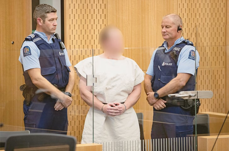 Brenton Tarrant is seen in the dock during his appearance in the Christchurch District Court on Saturday.—Reuters