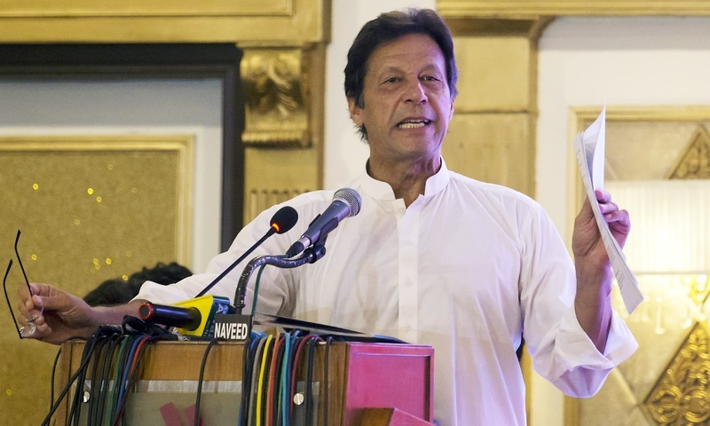Prime Minister Imran Khan addresses a ceremony.— AP/File
