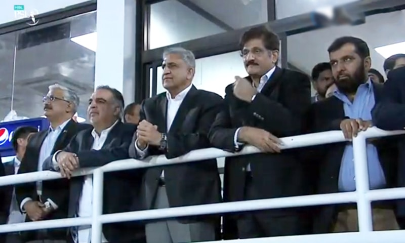 Army chief Gen Qamar Bajwa pictured watching the show with Sindh Chief Minister Murad Ali Shah and Governor Imran Ismail. — DawnNewsTV