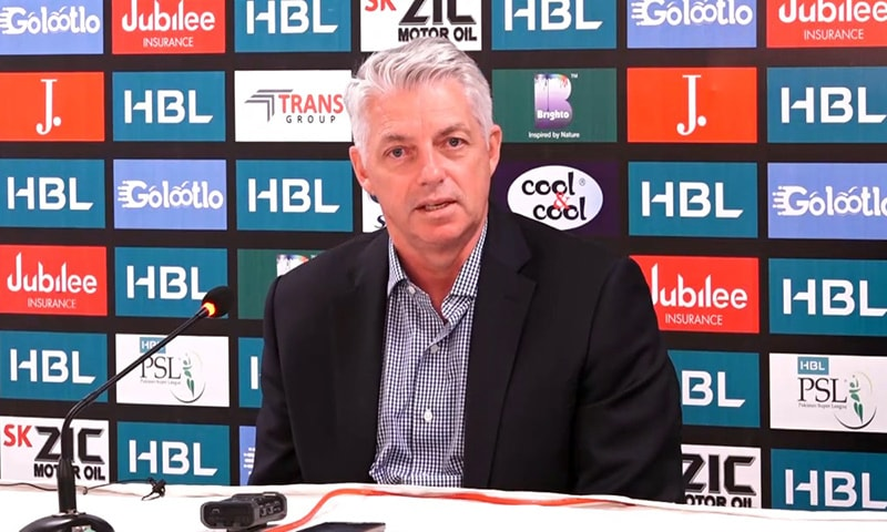 ICC chief executive David Richardson addresses a press conference at the  National Stadium Karachi on Sunday. — Photo by author