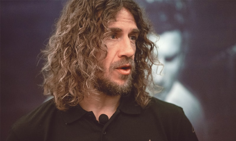 KARACHI: Spain and Barcelona legend Carles Puyol gestures  during his interview on Sunday. —Mohammad Ali/White Star