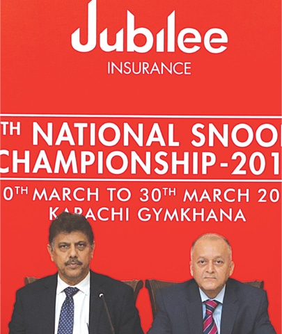 KARACHI: Pakistan Billiards and Snooker Federation (PBSF) President Munawwar Hussain Shaikh flanked by Tahir Ahmed of Jubilee Insurance addresses a press conference at Karachi Gymkhana on Monday to unveil details of the 44th National Snooker Championship.