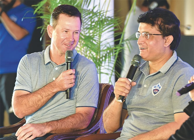 NEW DELHI: Delhi Capitals' special adviser Saurav Ganguly (R) and coach Ricky Ponting speak during a press conference on Tuesday.—AFP