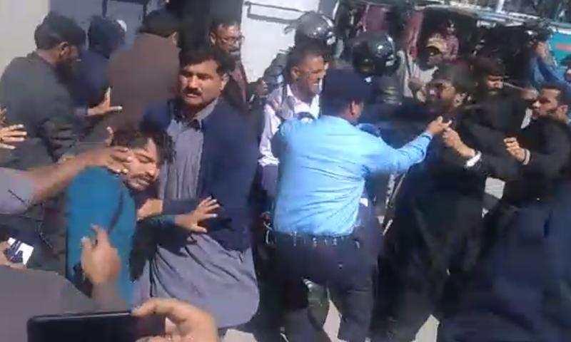 PPP workers gather outside NAB Islamabad ahead of Bilawal's arrival. — DawnNewsTV
