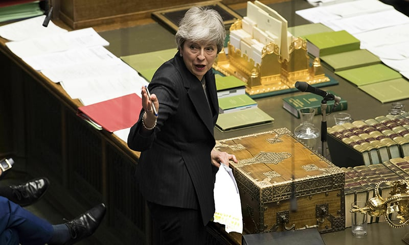 In this handout photo made available by UK Parliament, Britain's Prime Minister Theresa May speaks during Prime Minister's Questions in the House of Commons, London, Wednesday March 20, 2019. — AP