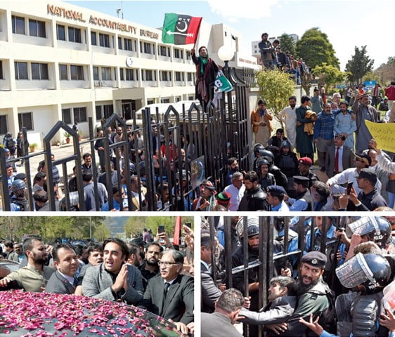 (Clockwise from top) A PPP worker waves the party flag from atop the gate of NAB headquarters, PPP chairman's security personnel faints at the entrance while Bilawal Bhutto Zardari gestures to jiyalas during his appearance at the bureau on Wednesday. —  Photos by Tanveer Shahzad