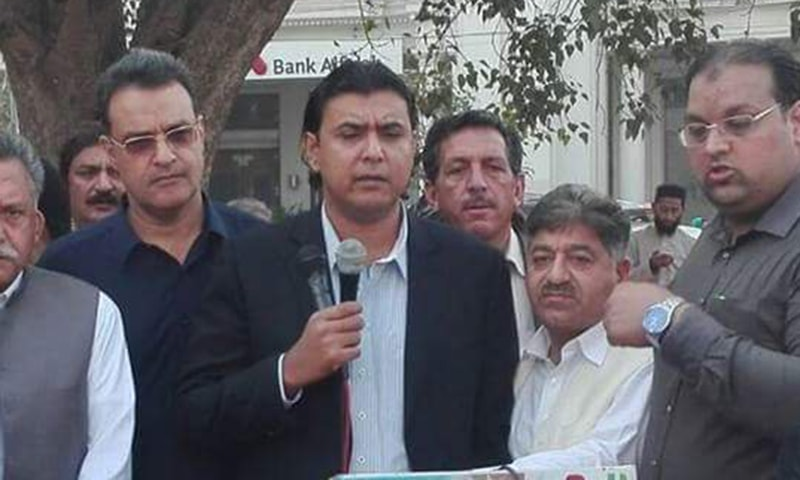 Senator Mustafa Nawaz Khokhar (center), the spokesperson for PPP Chairman Bilawal Bhutto-Zardari, was granted protective bail by a sessions court in Islamabad on Thursday. — Photo courtesy Senator Mustafa Nawaz Khokhar Twitter