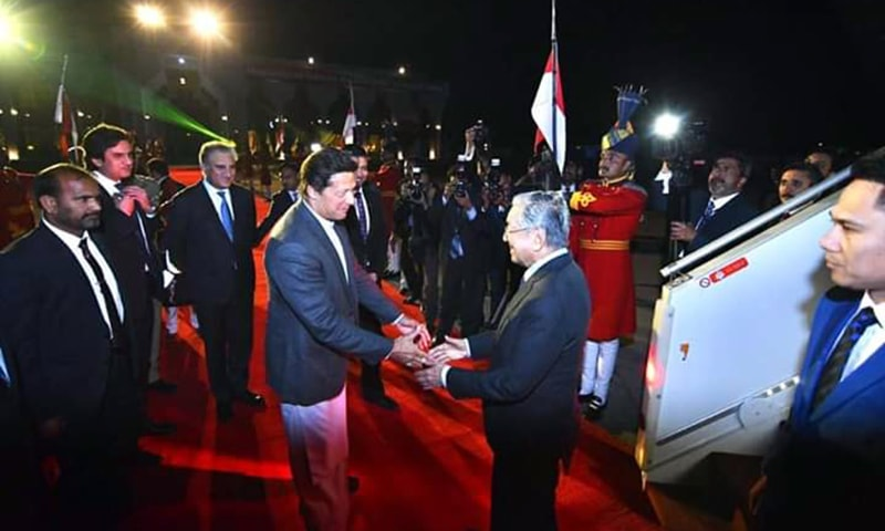 The Malaysian PM was given a 21-gun salute and was welcomed at Nur Khan airbase by Prime Minister Imran Khan on March 21, 2019. — PID