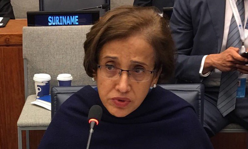 "Foreign Secretary Tehmina Janjua terms the acquittal of the four individuals accused in the Samjhota Express bombing case a ""historic injustice"", the Foreign Office (FO) said in a press release issued on Thursday. — Photo courtesy Tehmina Janjua Twitter"