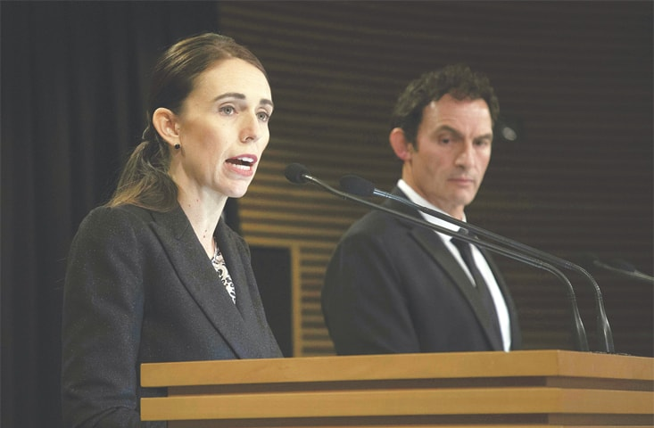 Wellington: New Zealand's Prime Minister Jacinda Ardern speaks at a press conference with Police Minister Stuart Nash at Parliament House on Thursday.—AFP