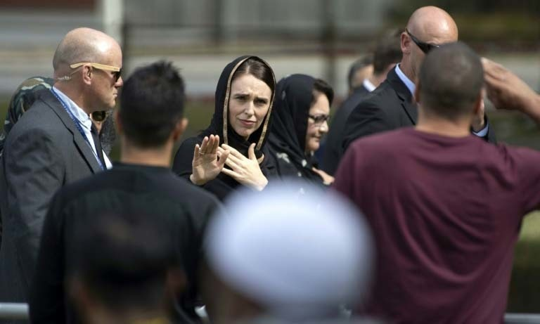 Prime Minister of New Zealand Jacinda Ardern at the park outside the two mosques targeted in last week's terror attack during Friday prayers today. ─ AFP