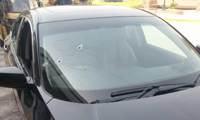 One of the cars targeted by unidentified gunmen. — DawnNewsTV