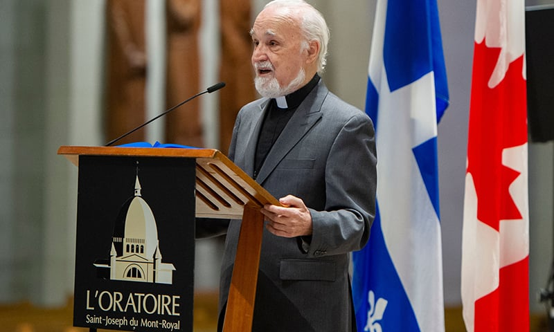 Catholic Priest Claude Grou speaks at a press conference on March 1, 2019, about  the work to be done at Saint Joseph's Oratory in Montreal. — AFP
