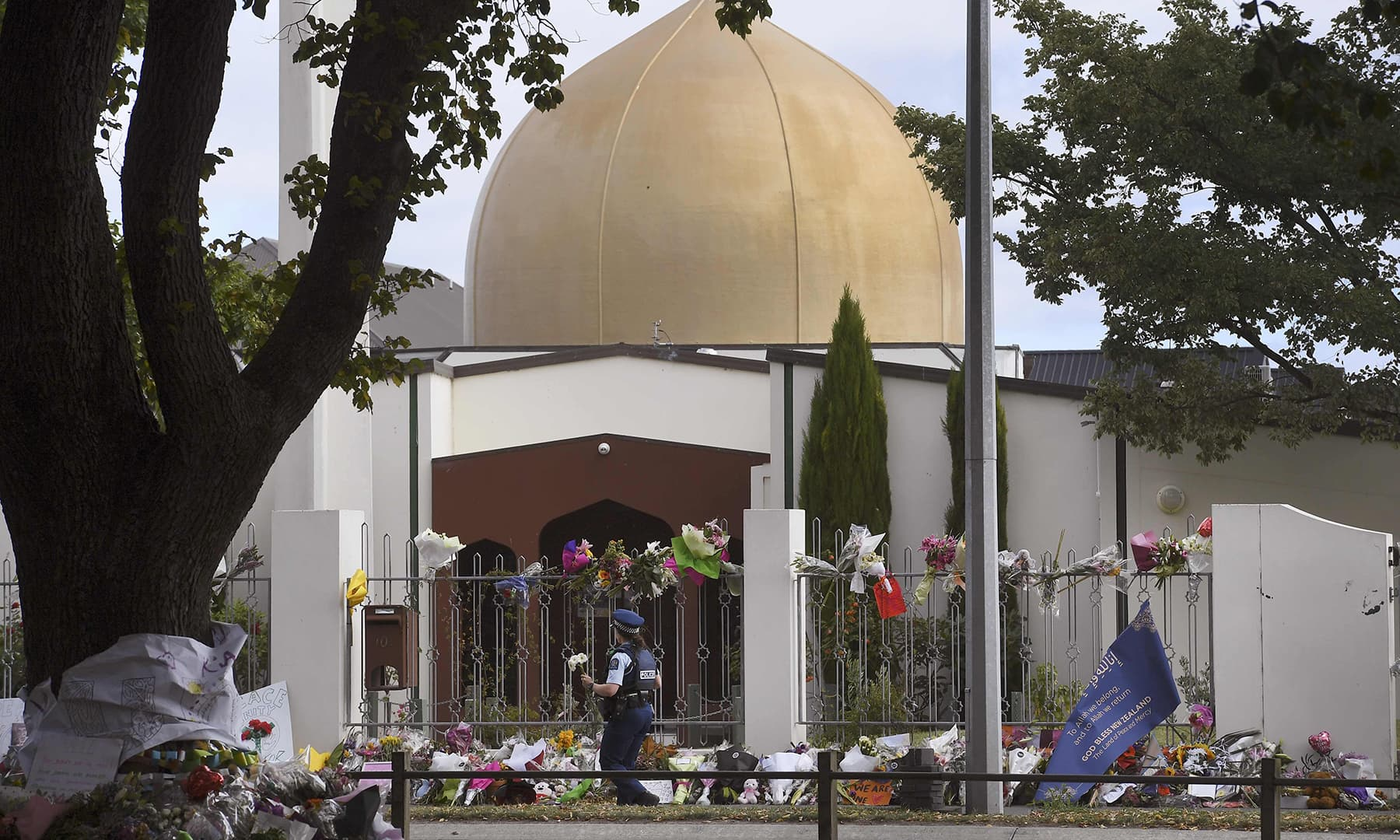 The Al Noor mosque is seen after police removed screens before congregational Friday prayers and two minutes of silence for victims of the twin mosque massacre, at Hagley Park in Christchurch. — AFP