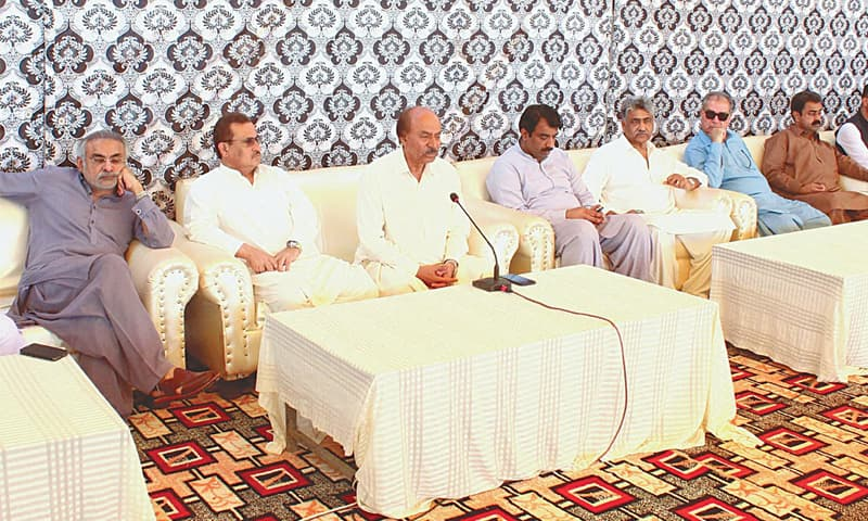 PPP Sindh president Nisar Khuhro speaks at a press conference at Garhi Khuda Bakhsh Bhutto on Friday.—PPI