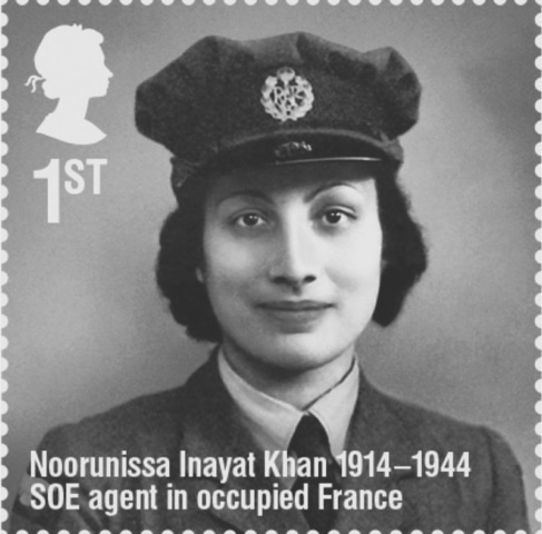 A British postal stamp commemorating Noor Inayat Khan. A descendant of Tipu Sultan of Mysore, she was born in Russia and raised in Britain and France. At age 28, she joined an elite British intelligence squad and single-handedly ran a cell of spies across Paris. Eventually betrayed and sent to a concentration camp, she was tortured for 10 months before being executed by the Nazis in 1944 | Public Domain
