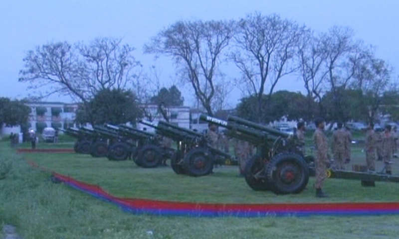 The capital welcomed Pakistan Day with a 31-gun salute. — DawnNewsTV