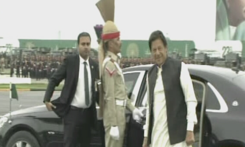 The prime minister arrives at the parade ground. — DawnNewsTV