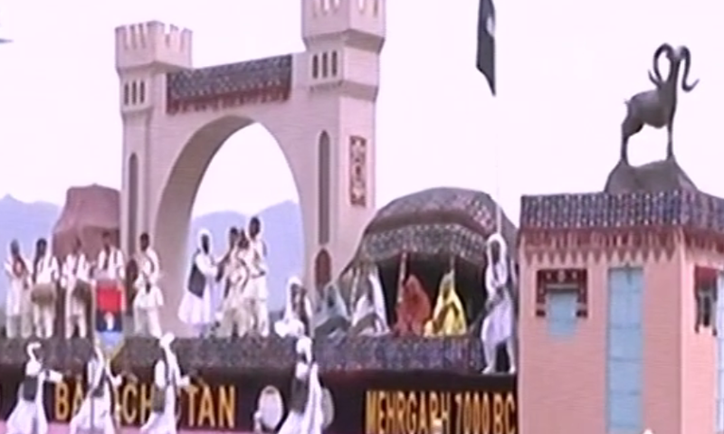 A float representing Balochistan shows the province's culture for the audience. — DawnNewsTV