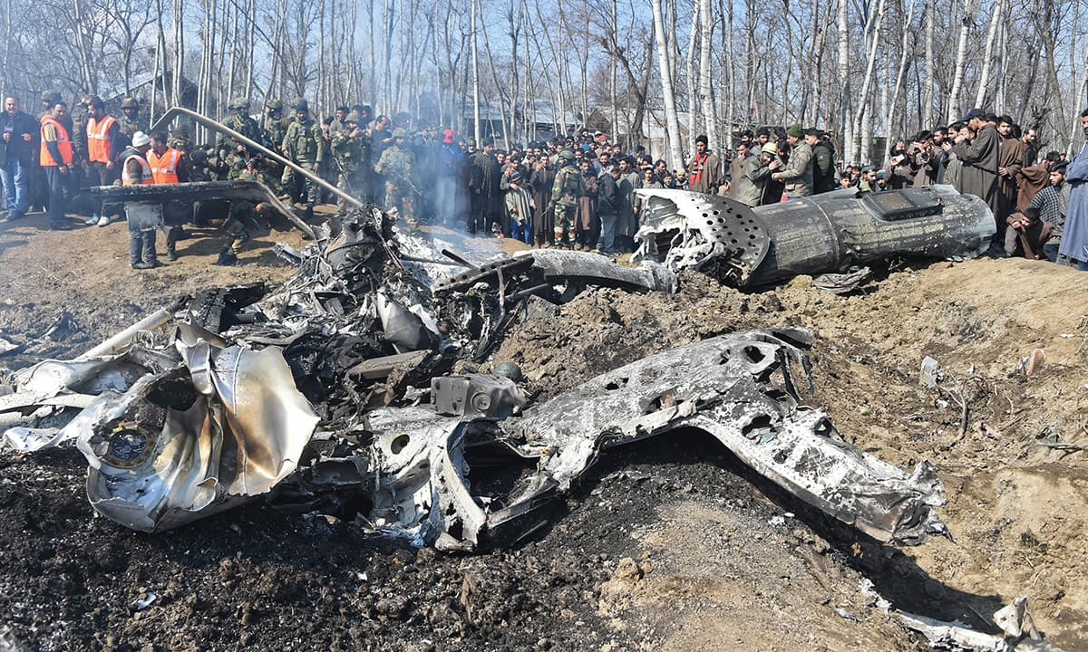 A crashed Indian Air Force helicopter in Indian-controlled Kashmir | AFP