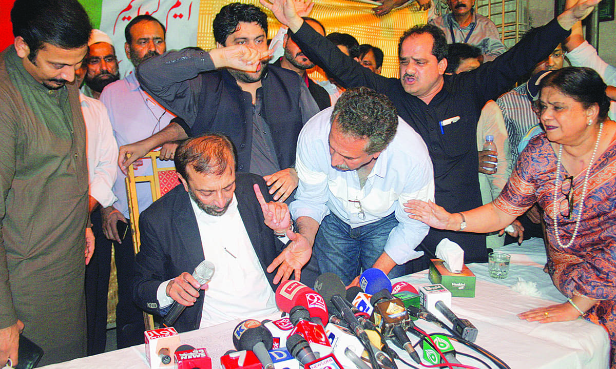 Karachi Mayor Waseem Akhtar and Senator Nasreen Jalil try to persuade Dr Farooq Sattar to withdraw his decision to quit politics | White Star