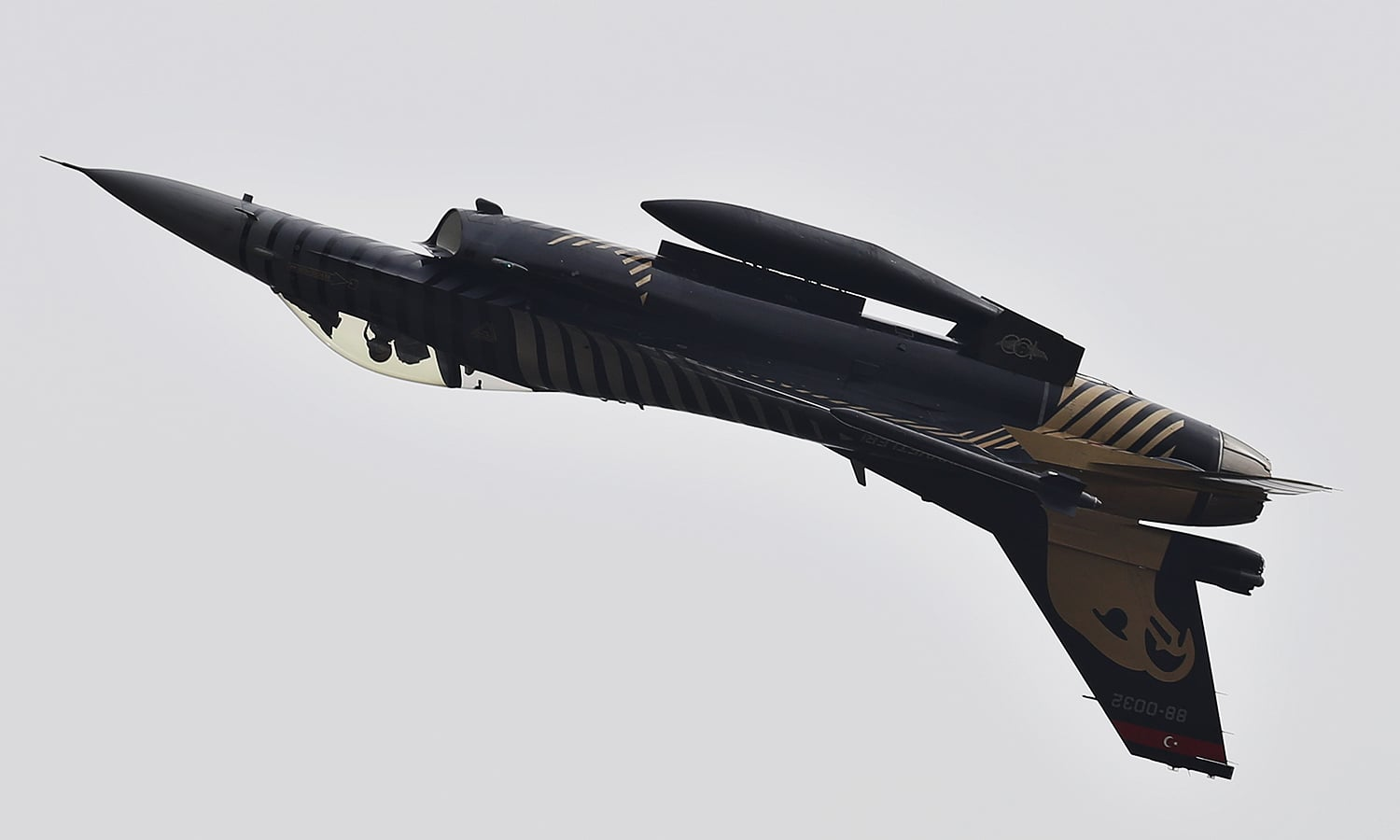 A Turkish fighter jet performs an aerobatic stunt during a military parade to mark Pakistan Day. ─ AP