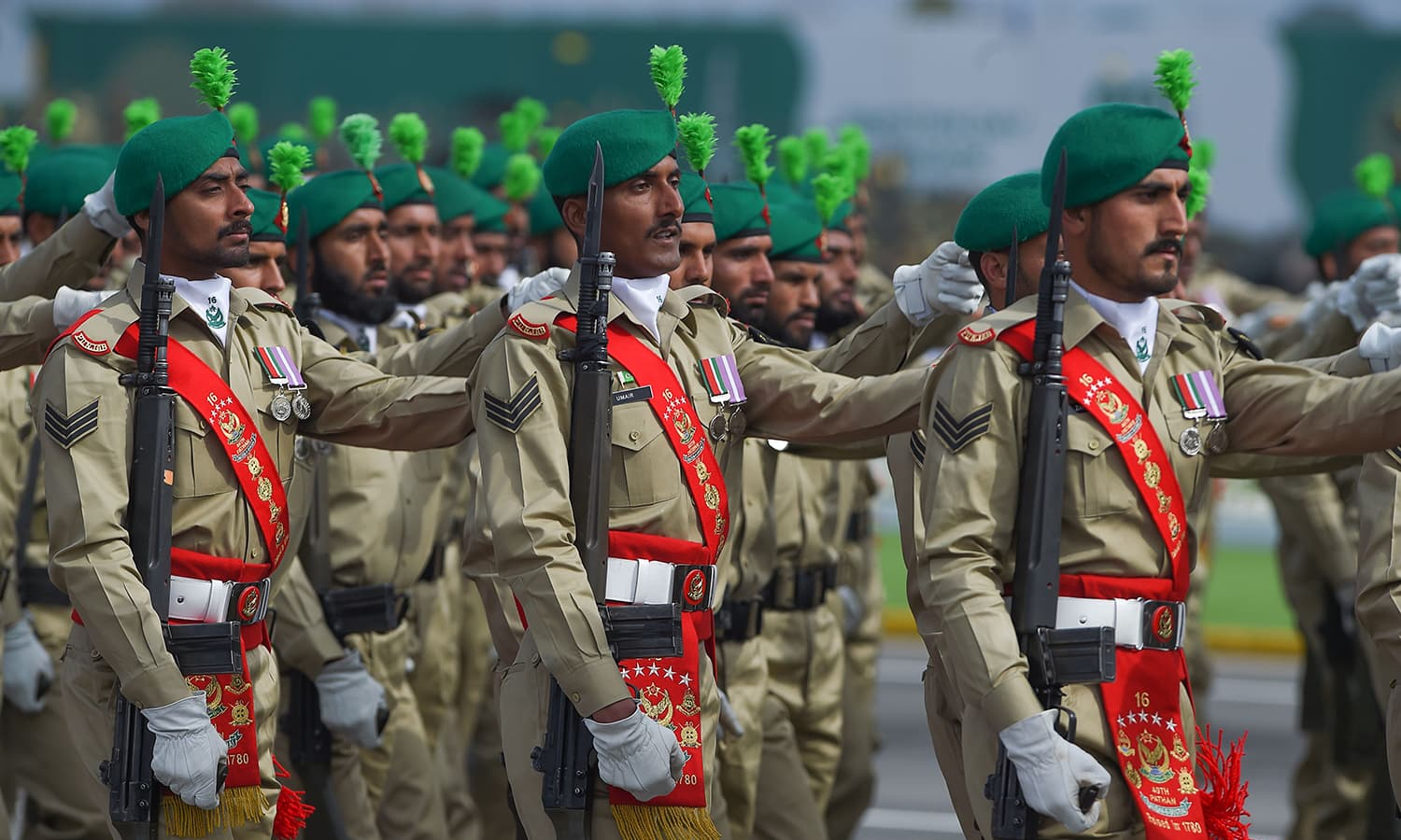 Troops march during the Pakistan Day parade in Islamabad on March 23, 2019. ─ AFP
