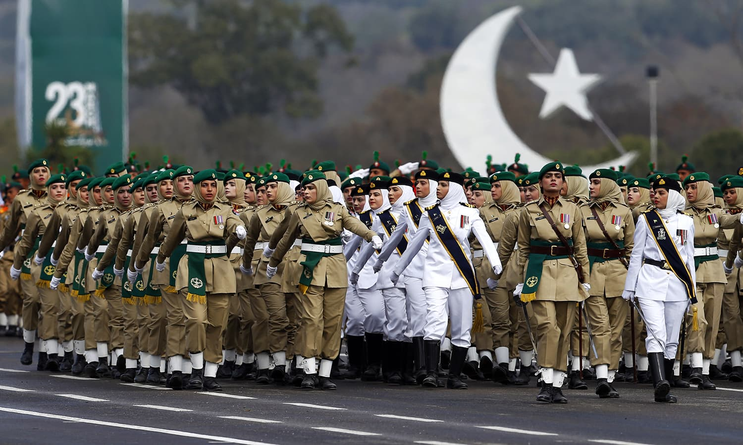 Pakistan Army soldiers march during a military parade to mark Pakistan Day in Islamabad on March 23, 2019. ─ AP